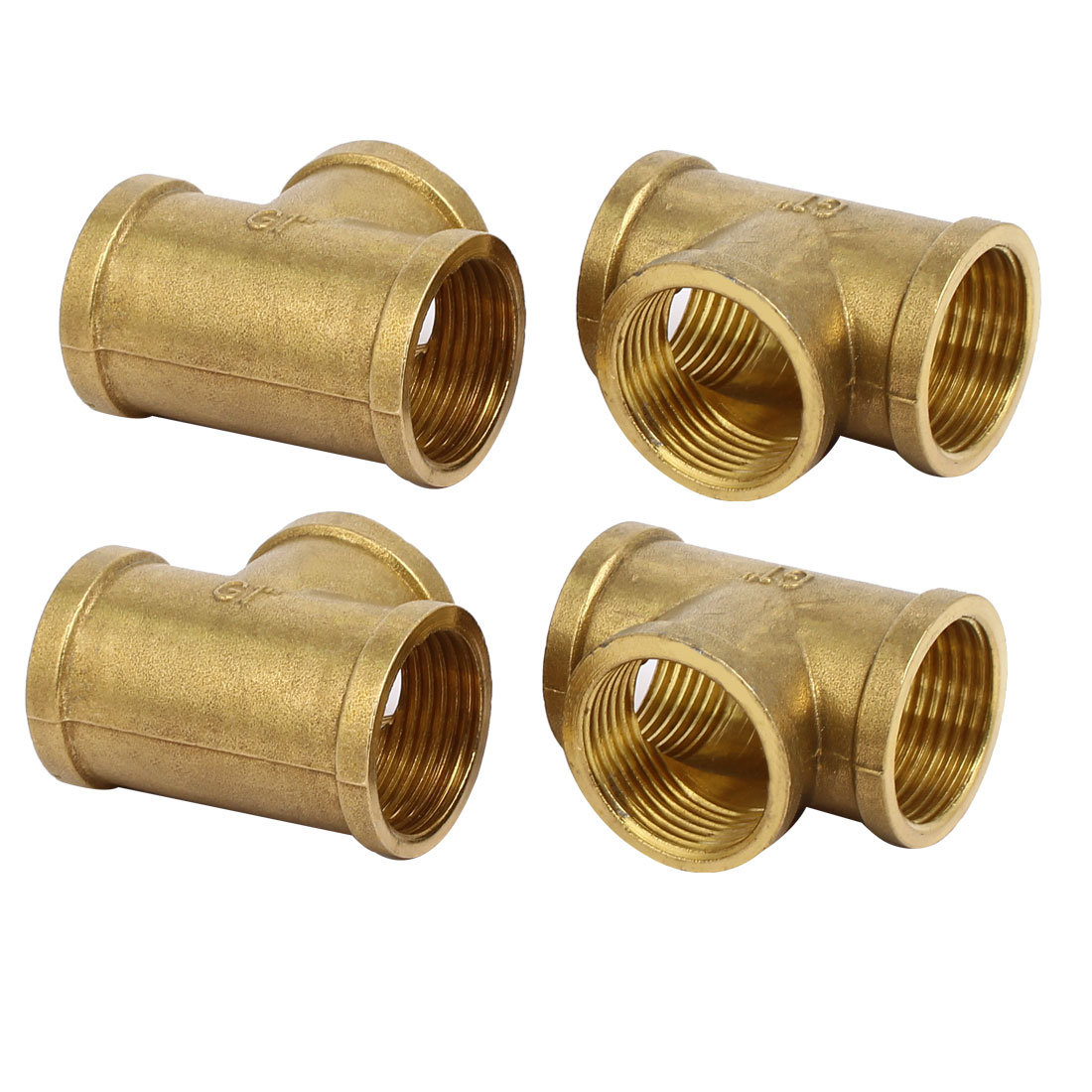 1BSP Female Thread Brass T Shape Tube Pipe Connecting Fittings Connectors 4pcs