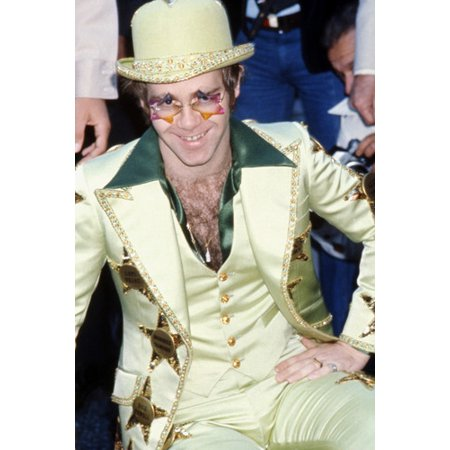 Elton John Green Suit & Hat Crazy Sunglasses 24X36 Poster