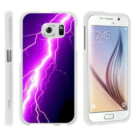 Purple Lightning Bolt (Samsung Galaxy S6 Edge G925, [SNAP SHELL][White] Hard White Plastic Case with Non Slip Matte Coating with Custom Designs - Purple Lightning)