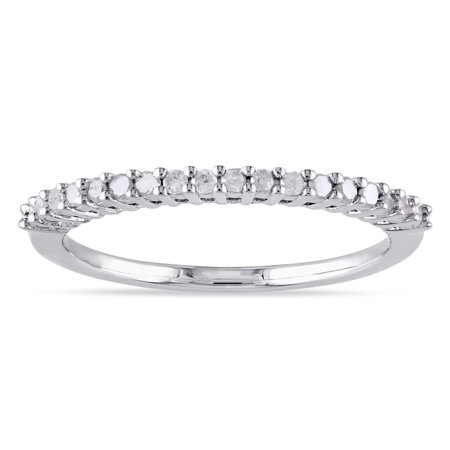 Sterling Silver 1/ 5ct TDW Diamond Thin Stackable Wedding Band (H-I, I2-I3)