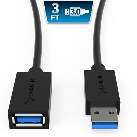 Sabrent USB 3.0 Extension Cable - A-Male to A-Female [Black] 3 Feet