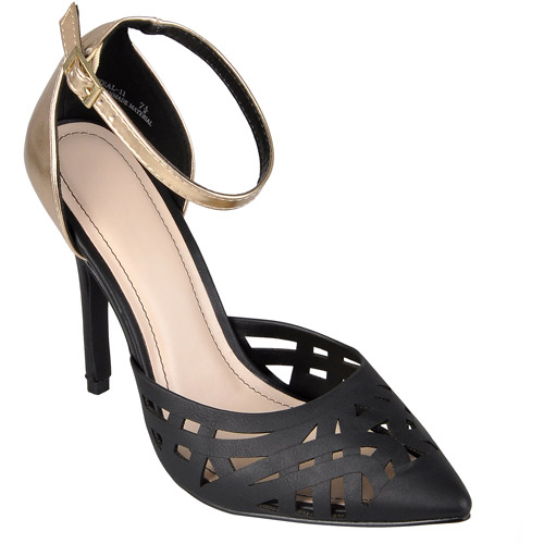 Brinley Co. Womens Cut-out Ankle Strap Heels