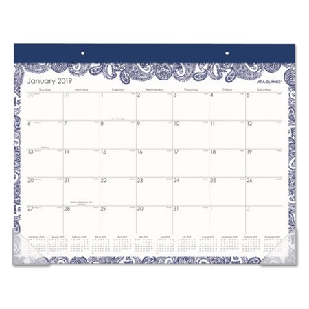 AT-A-GLANCE 2019 Paige Monthly Desk Pad Calendar, 21 3/4