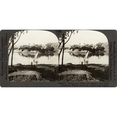 Egypt Philae Temple Nphilae The Pearl Of Egypt Now Submerged By Waters Sotred By Assuan Dam Egypt Stereograph C1910 Rolled Canvas Art     18 X 24