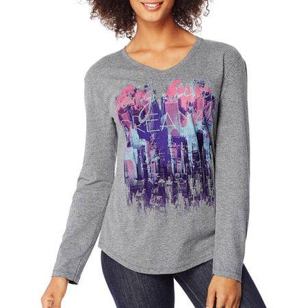Hanes Women 39 S Printed Long Sleeve V Neck T Shirt