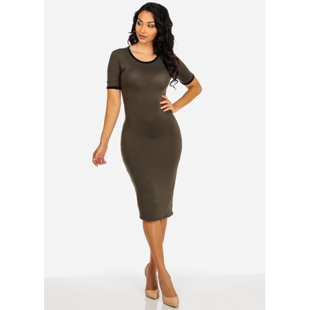 ModaXpressOnline - Womens Juniors Casual Midi Tshirt Dress (Olive ... 2067a47160