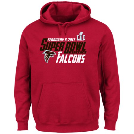 Atlanta Falcons Majestic Nfl Super Bowl Li 51   Hash Mark   Hooded Sweatshirt
