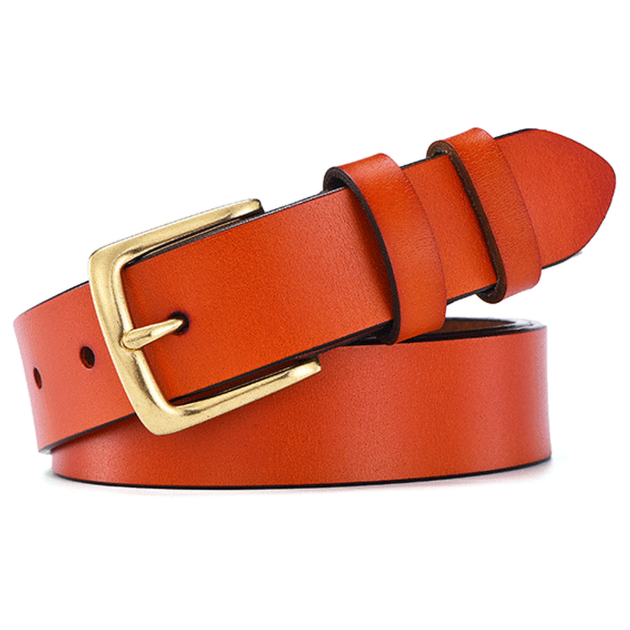 Women's Classic Gold Color Metal Buckle Handcrafted Genuine Leather Jean Belt (Sytle 3w019)