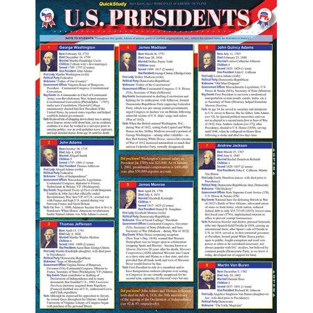 U.S. Presidents : QuickStudy Laminated Reference - Us Presdients