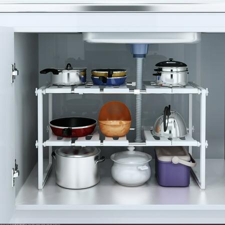 Stackable Corner Shelf (UBesGoo Space Saving Rack 2 Tier Stackable Under Sink Shelf Adjustable Kitchen Cabinet )