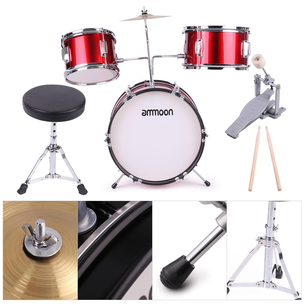 ammoon Kids Drum Set 3-Piece Beginners Complete Set with Cymbal Drumsticks Stool by
