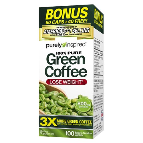 Purely Inspired 100% Pure Green Coffee Caplets, 800mg, 100 count