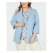 CALVIN KLEIN Womens Light Blue Blazer Wear To Work Jacket Plus  Size: 16W