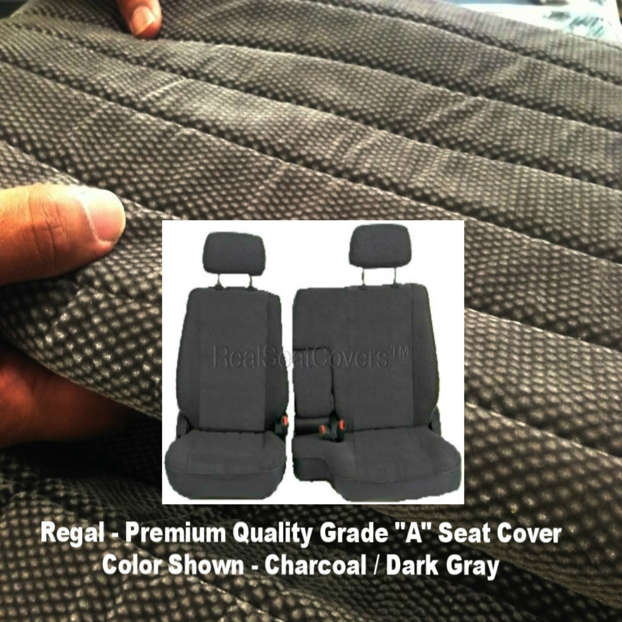A67 Toyota Tacoma 1995 - 2000 Front 60/40 Split Bench Seat Covers Adjustable Headrest Armrest Access Charcoal Dark Gray