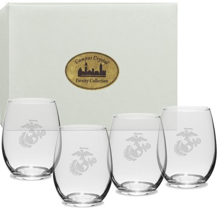 US Marines Deep Etched Stemless Wine Glass Set of 4 - Halloween Decorated Wine Glasses