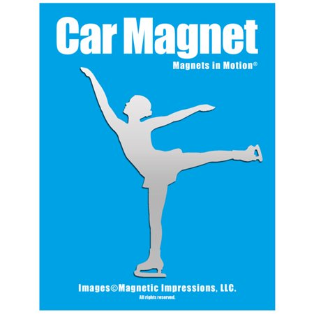 Figure Skater Spiral Car Magnet Chrome