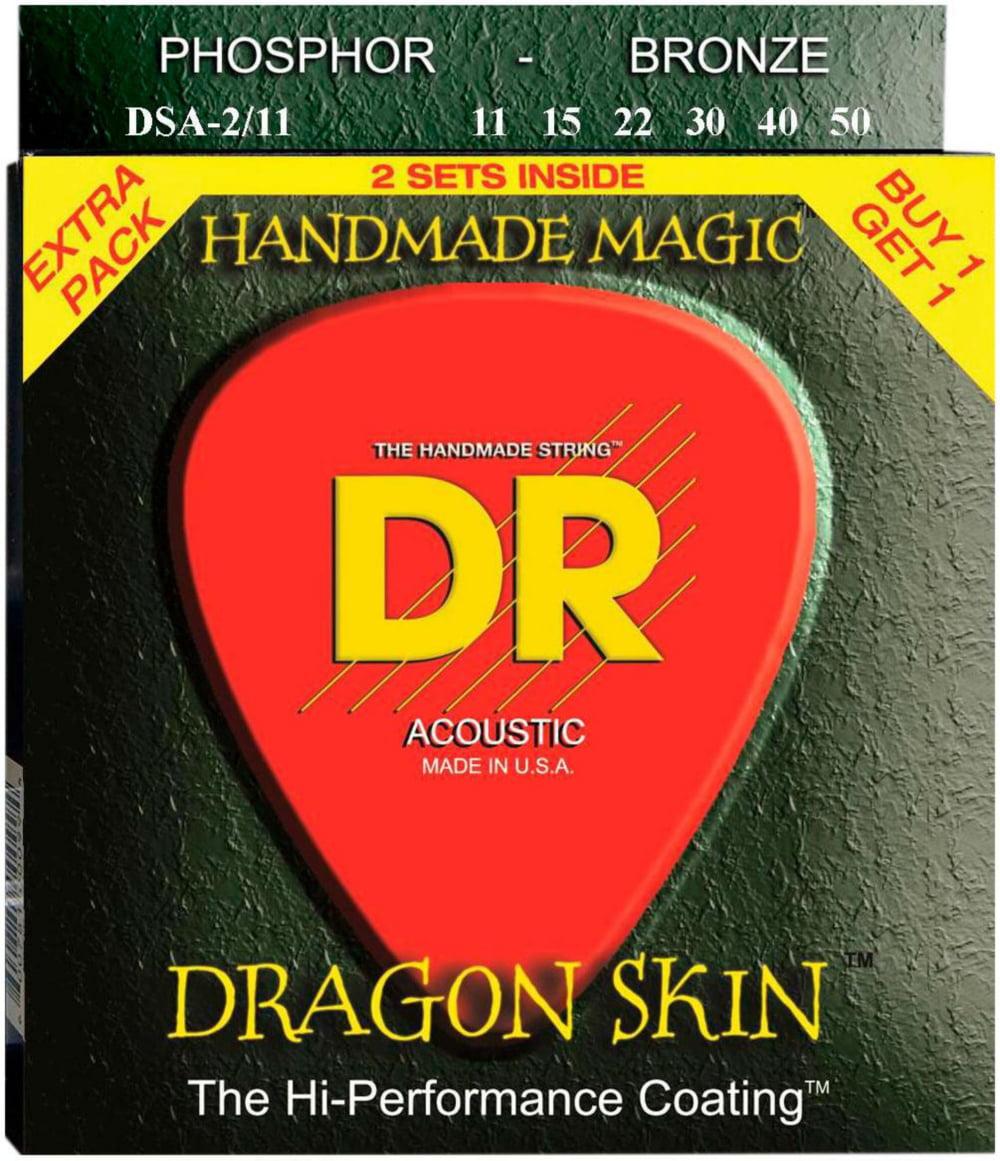 DR Strings Dragon Skin Clear Coated Phosphor Bronze Medium-Light Acoustic Guitar Strings... by DR Strings