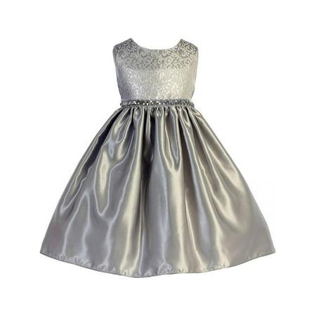 Crayon Kids Little Girls Silver Glitter Sequin Scroll Christmas Dress for $<!---->