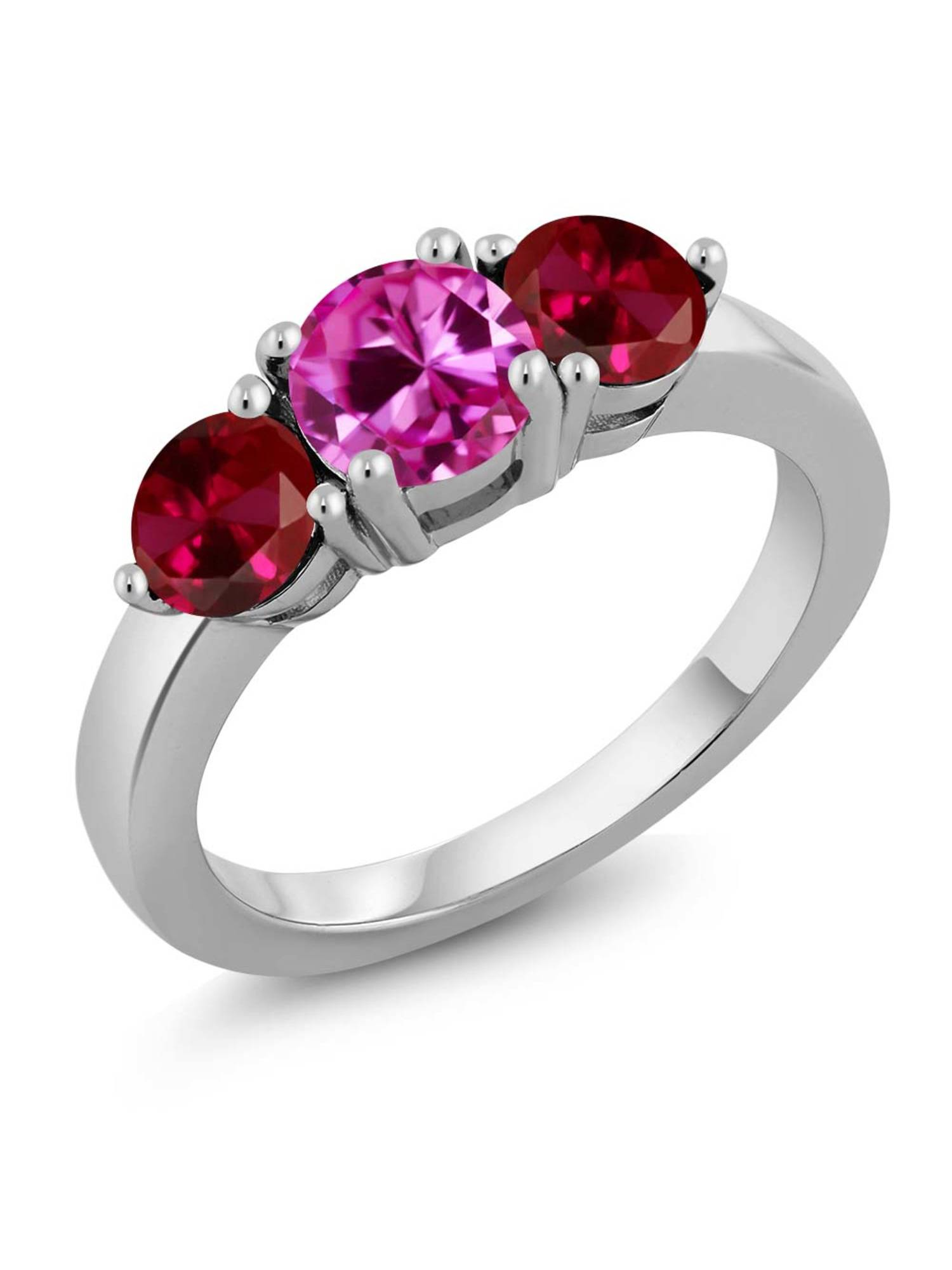 2.20 Ct Round Pink Created Sapphire Red Created Ruby 925 Sterling Silver Ring by