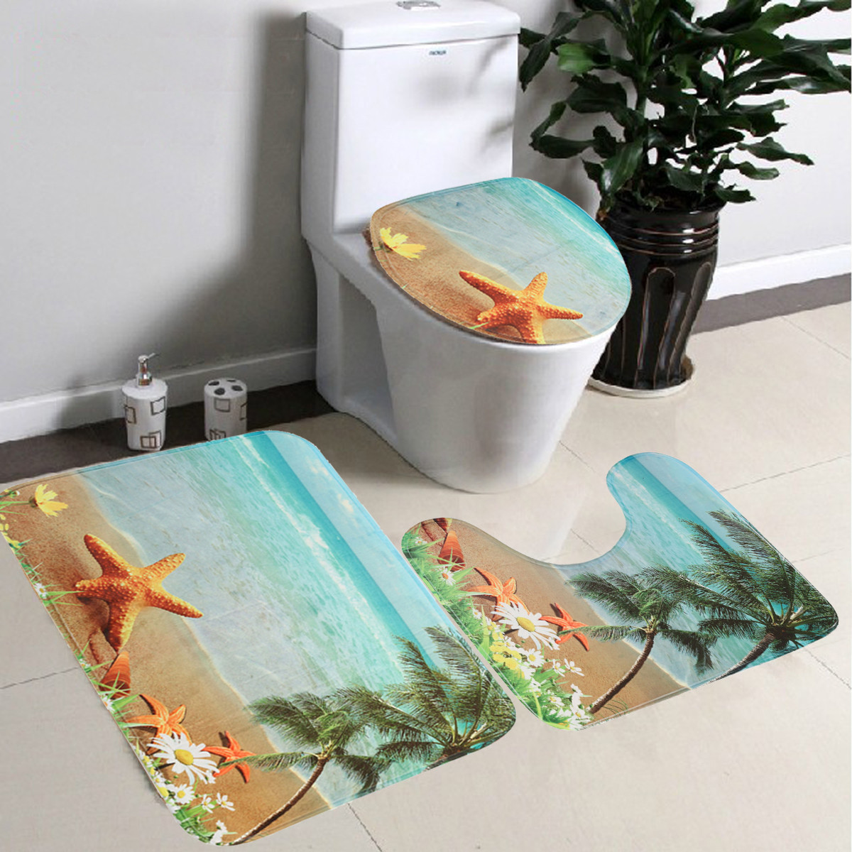 3Pcs Bathroom Set Pedestal Rug + Lid Toilet Cover + Non-slip Bath Mat Doormat Carpet Black&White