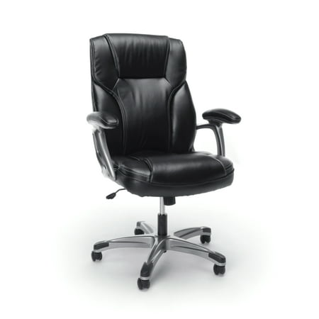 Essentials by OFM ESS-6030 High-Back Bonded Leather Executive Chair with Fixed Arms, Black Bonded Leather Arm Chair