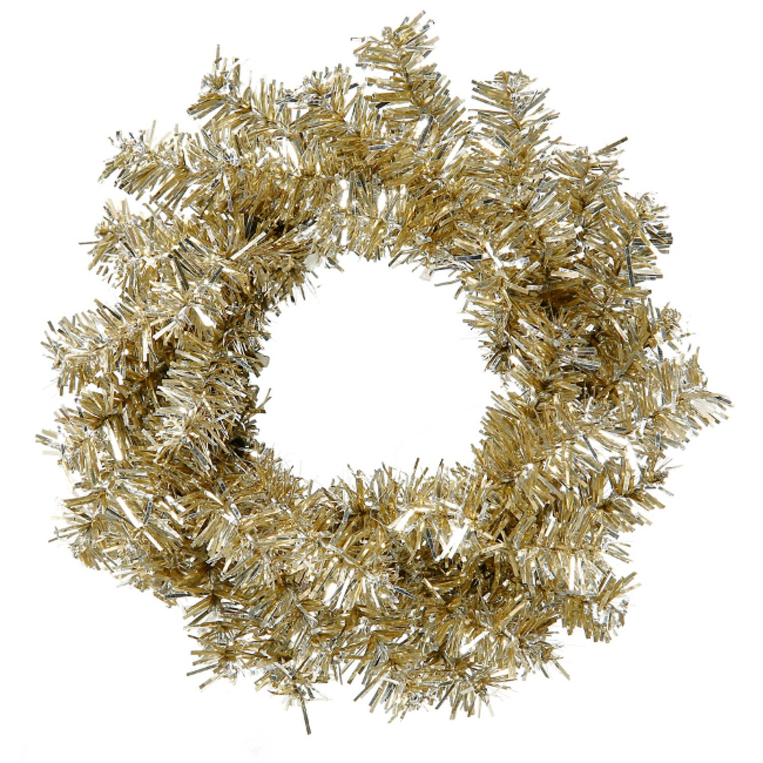 """Club Pack of 24 Mini Champagne Artificial Tinsel Christmas Wreaths 6"""" - Unlit"""