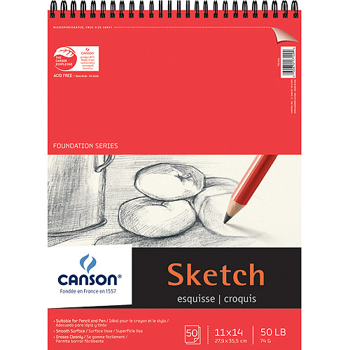"Pro-Art Canson Doundation Series Spiral Sketch Pad, 11"" x 14"", 50 Sheets"