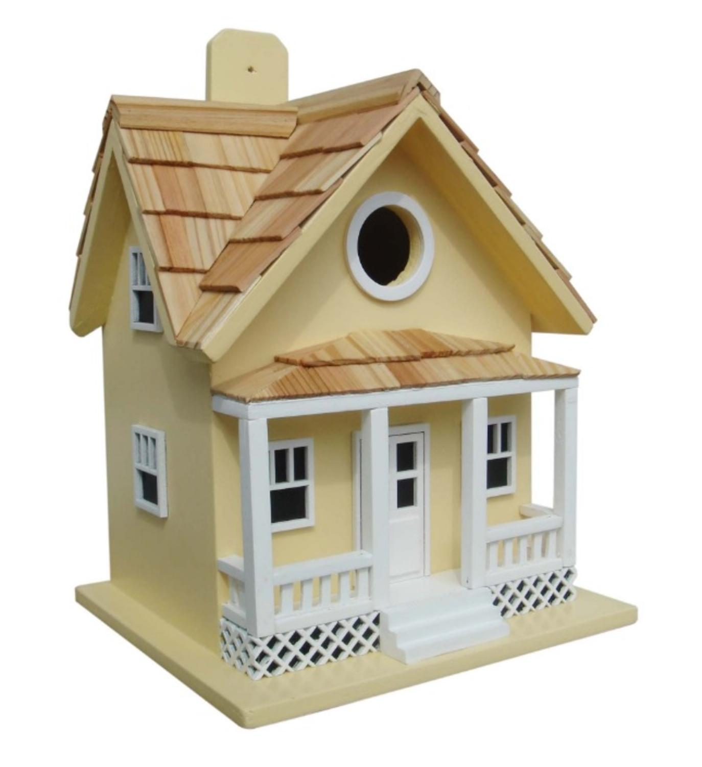"10"" Fully Functional Yellow Beach Side Cottage Outdoor Garden Birdhouse by Bird Houses"