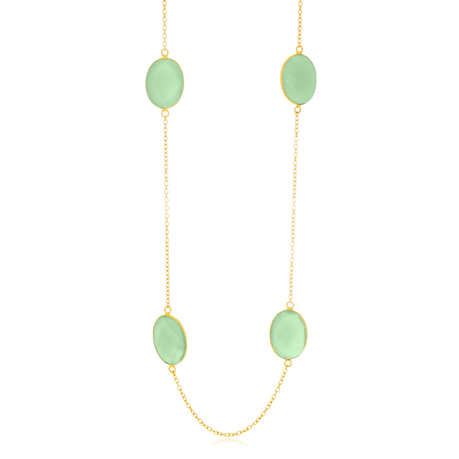 Sterling Silver Yellow Gold Plated Oval Aqua Chalcedony Station Chain Necklace by