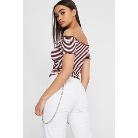 67ba5dccebe Urban Planet Women's Striped Off The Shoulder Lettuce Hem Cropped T-Shirt -  image 1 ...