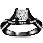 Noori Collection Noori 18k Black Gold 1ct TDW Princess-cut Diamond Engagement Ring