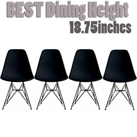 2xhome Set of 4 Black Modern Industrial Molded Shell Assembled Chairs Chrome Wire Black Metal Eiffel Side Armless No Arms With Back DSW for Desk Work Office Dining Living Kitchen