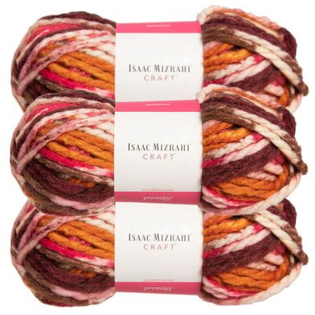 Premier Yarns (3 Pack) Isaac Mizrahi Lexington Acrylic & Wool Soft Yarn for Knitting Crocheting #6 Super Bulky