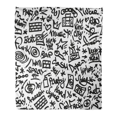 Felt Hip Hop (SIDONKU Flannel Throw Blanket Pattern Black Graffiti Rap Hip Hop Music Felt Pen Soft for Bed Sofa and Couch 50x60)