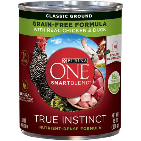 (12 Pack) Purina ONE Grain Free, Natural Pate Wet Dog Food, SmartBlend True Instinct With Real Chicken & Duck, 13 oz. Cans