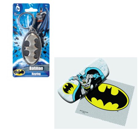 Bundle 2 Items: Batman Eyeglass Case and Pewter Keychain