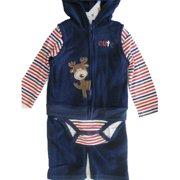 Baby Boys Blue Red Striped Hooded Vest Bodysuit 3 Pc Pants Set 0-9M