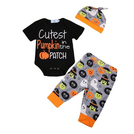 Newborn Baby Boy Clothes Pumpkin Halloween Bodysuit Romper+Pants+Hat Outfits Set (Baby Clothes Halloween)