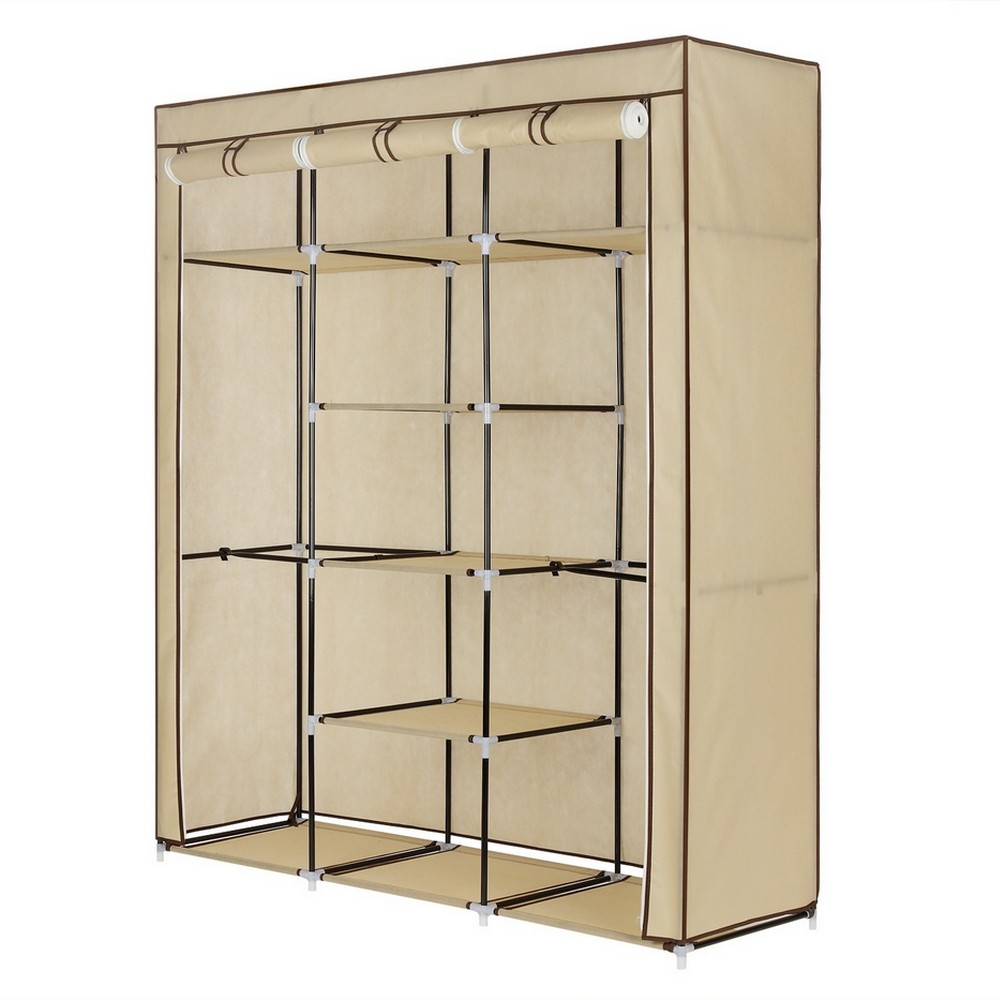 Homegear Triple Fabric Portable Wardrobe Closet /Clothes Storage Rack Cream