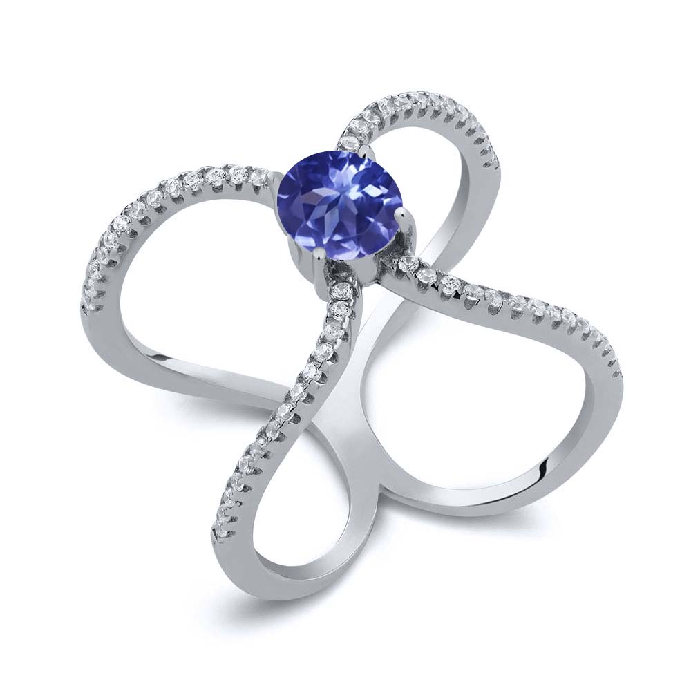 1.48 Ct Round Blue Tanzanite AAAA 925 Sterling Silver Ring by