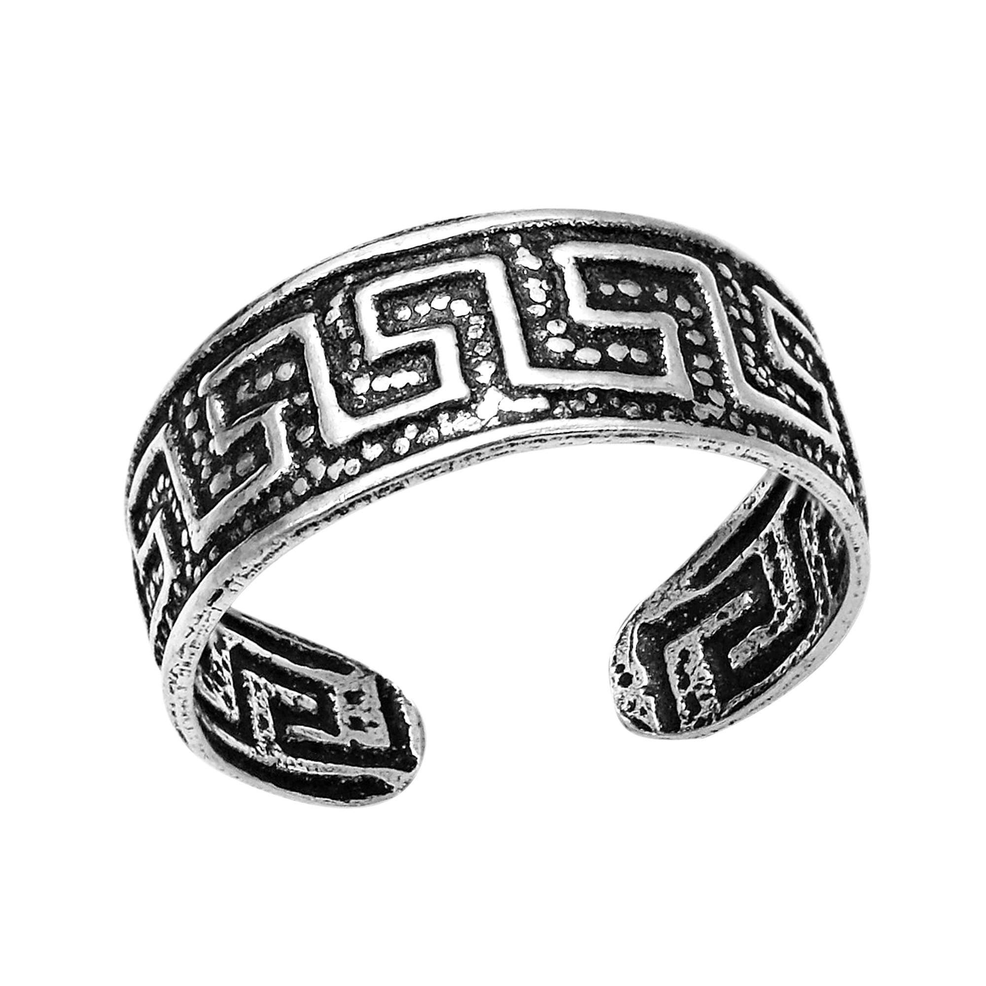 Link Greek Key Maze Pattern 925 Sterling Silver Toe Ring Or Pinky