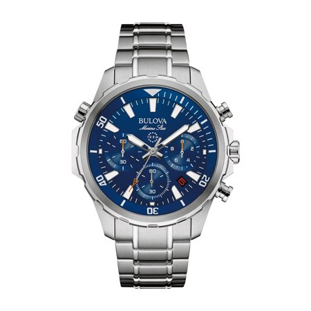 96B256 Men's Marine Star Blue Dial Stainless Steel Bracelet Chronograph (Marine Star Two Tone Watch)