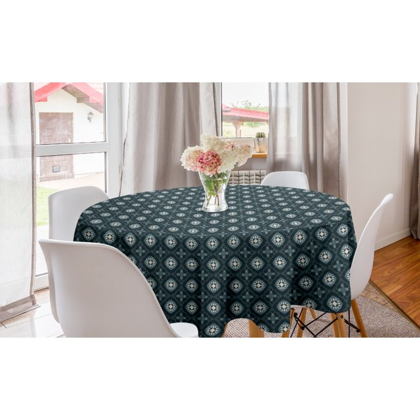 Oriental Round Tablecloth Ethnic Mosaic Hexagonal Forms Ottoman Ancient Arabian Inspired Motifs Circle Table Cloth Cover For Dining Room Kitchen Decor 60 Dark Cadet Blue Beige By Ambesonne Walmart Com Walmart Com