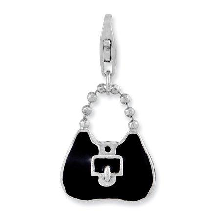 - Sterling Silver 3-D Enameled Purse with Lobster Clasp Pendant Charm (14mm x 28mm)