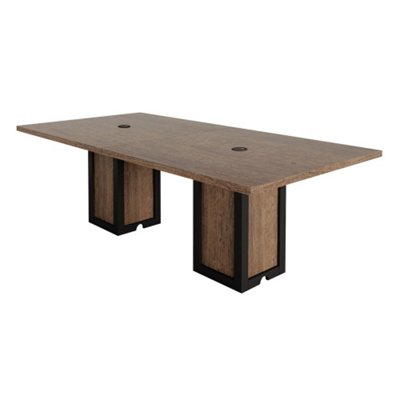 Urban Conference Table 96 Quot W X 48 Quot D Weathered Walnut Laminate Black Accents Walmart Com