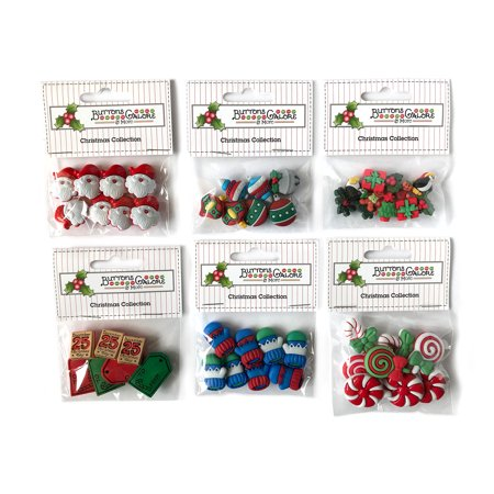 Buttons Galore 50+ Assorted Buttons for Sewing & Crafts - Christmas - Set of 6 Button - Christmas Buttons