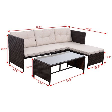 GHP 3-Pcs Polyester Fabrics Brown Rattan Loveseat Lounge Sofa Coffee Table - Love Table