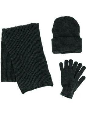 CTM®  3 Piece Scarf Hat and Glove Winter Set (Men's)