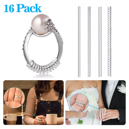 EEEkit Set of 16 Pack Ring Size Adjuster with 4 Sizes Clear Ring Sizer Resizer Fit for Loose (16 Ring Set)