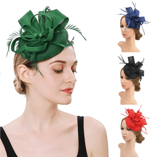 Women/'s Fascinator Wedding Evening Party New Ladies Feather /& Flower Mesh Hat